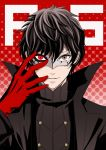 1boy amamiya_ren black_hair copyright_name gloves grey_eyes haru_(toyst) heterochromia looking_at_viewer male_focus mask parted_lips persona persona_5 red_eyes red_gloves smile upper_body