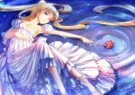 1girl bangs bare_shoulders barefoot bishoujo_senshi_sailor_moon blonde_hair blue_background blue_eyes bracelet crescent dress earrings facial_mark flower forehead_mark full_body hair_bun jewelry kaminary long_hair lying on_back parted_bangs princess_serenity red_flower red_rose rose signature solo strapless strapless_dress tsukino_usagi twintails water white_dress