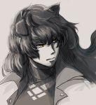 1girl animal_ears black_hair blake_belladonna cat_ears grey_background hair_between_eyes long_hair rwby solo spot_color toutetsu_mon upper_body yellow_eyes