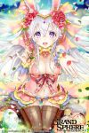 1girl animal_ears breasts brown_legwear circlet cleavage confetti easter_egg egg flower grand_sphere hair_between_eyes hair_flower hair_ornament holding holding_flower kuroi long_hair midriff navel official_art outstretched_hand petals pink_skirt rabbit_ears revealing_clothes silver_hair skirt very_long_hair violet_eyes