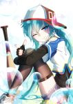 1girl :p aqua_eyes aqua_hair bai_yemeng bangs baseball_bat baseball_cap black_legwear fingerless_gloves gloves hair_between_eyes hat hatsune_miku highres long_hair one_eye_closed pointing pointing_at_viewer shoes sitting sneakers solo thigh-highs tongue tongue_out vocaloid