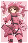 1girl animal_hat bandanna bangs belt brown_hair bullpup bunny_hat closed_mouth commentary_request cowboy_shot dual_wielding elbow_pads emblem eyebrows_visible_through_hair gloves gun hat highres holding ichigotofu jacket knee_pads llenn_(sao) looking_at_another looking_at_viewer outside_border p-chan_(sao) p90 pants pink_background pink_bandanna pink_eyes pink_gloves pink_hat pink_jacket pinky_out short_hair skorpion_vz._61 smirk solo standing submachine_gun sword_art_online sword_art_online_alternative:_gun_gale_online tactical_clothes trigger_discipline utility_belt v-shaped_eyebrows weapon