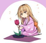1girl adapted_costume blonde_hair blush bow brown_eyes character_name closed_mouth flower head_tilt ienaga_mugi japanese_clothes kimono long_hair nijisanji no_shoes ogami_kazuki orange_bow paw_print pink_kimono print_kimono red_flower seiza sitting socks solo tulip very_long_hair white_legwear