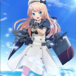 1girl aiming blonde_hair blue_eyes blue_sailor_collar blue_sky cannon clouds cowboy_shot day dress gloves hat highres jervis_(kantai_collection) kantai_collection long_hair looking_at_viewer open_mouth outdoors ponpu-chou sailor_collar sailor_dress sailor_hat short_sleeves sky solo turret white_dress white_gloves white_hat