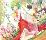 1girl ascot birdcage blue_sky blurry_foreground blush cage cherry_blossoms commentary day dutch_angle english_commentary eyebrows_visible_through_hair flower flower_pot full_body green_hair hair_between_eyes holding holding_flower holding_umbrella kazami_yuuka kneehighs kneeling konnyaku_(yuukachan_51) long_sleeves looking_at_viewer mary_janes outdoors petticoat pink_flower plaid plaid_skirt plaid_vest purple_flower red_eyes red_footwear red_skirt red_vest shirt shoes skirt sky solo touhou transparent_umbrella tree umbrella vest watering_can white_flower white_legwear white_shirt yellow_neckwear