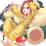 1girl :p absurdres arm_up blush brown_eyes brown_hair cosplay feet hand_on_lap highres karakai_jouzu_no_takagi-san long_hair long_sleeves looking_up onesie phone pikachu pikachu_(cosplay) poke_ball shinonome_mozuku snorlax solo tail takagi-san taking_picture tongue tongue_out