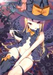 1girl :p abigail_williams_(fate/grand_order) absurdres ass_visible_through_thighs asymmetrical_legwear bangs black_bow black_hat black_legwear black_panties blonde_hair blush bow closed_mouth commentary_request eyebrows_visible_through_hair fate/grand_order fate_(series) groin hat hat_bow highres holding holding_key key keyhole long_hair looking_at_viewer navel orange_bow oversized_object panties parted_bangs red_eyes revealing_clothes single_thighhigh skull_print solo stuffed_animal stuffed_toy suction_cups teddy_bear tentacle thiana0225 thigh-highs tongue tongue_out topless underwear very_long_hair witch_hat