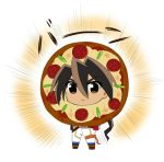 1boy brown_eyes brown_hair food food_as_clothes ichibanboshi_no_rei lowres pants pepperoni pizza rento_(rukeai) saikyou_ginga_ultimate_zero_~battle_spirits~ white_pants