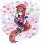 1girl android belt beret blush breasts brown_hair capcom eyebrows_visible_through_hair flower gloves green_eyes hair_between_eyes hair_ornament hat heart heart_background highres holding holding_flower iris_(flower) iris_(rockman_x) long_hair low-tied_long_hair medium_breasts pearl red_hat ribbon rockman rockman_x rockman_x4 smile solo sumomo upper_body white_gloves