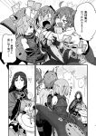 >_< ... 5girls ? ahoge bare_shoulders blush fate/grand_order fate_(series) fujimaru_ritsuka_(female) glomp hair_over_one_eye hassan_of_serenity_(fate) hug jeanne_d'arc_(fate)_(all) jeanne_d'arc_alter_santa_lily looking_at_another mash_kyrielight minamoto_no_raikou_(fate/grand_order) multiple_girls open_mouth sample shield spoken_ellipsis spoken_question_mark sweat torichamaru