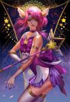 1girl alternate_costume armlet breasts choker cleavage_cutout commentary earrings elbow_gloves english_commentary facing_viewer gloves headgear highres jewelry league_of_legends lips looking_at_viewer luxanna_crownguard magical_girl nose pink_hair purple_choker sailor_collar solo star star_guardian_lux thigh-highs tiara violet_eyes wand white_gloves white_legwear yang_fan