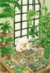 animal bear bow bowtie colored_pencil_(medium) fern greenhouse hanging_plant highres indoors no_humans original plant red_neckwear st.kuma traditional_media watercolor_(medium) window