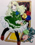 blonde_hair blue_eyes collar dress flower frame frilled_dress frills green_dress highres ib kagaya_(oshiriudon) marker_(medium) mary_(ib) mary_janes palette_knife pantyhose rose shoes traditional_media