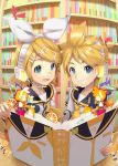 >_< >_o 1boy 1girl :d aqua_eyes bass_clef blonde_hair book bookmark bookshelf bow brother_and_sister chibi food fruit grin hair_bow hair_ornament hairclip headphones headset highres holding holding_book kagamine_len kagamine_rin multicolored multicolored_background musical_note nail_polish necktie one_eye_closed open_book open_mouth orange orange_slice pop-up_book rin_no_youchuu sailor_collar sawashi_(ur-sawasi) short_hair siblings smile treble_clef twins vocaloid xd yellow_nails yellow_neckwear