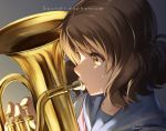 1girl brown_eyes brown_hair dripping euphonium from_side hibike!_euphonium highres holding holding_instrument instrument music nyum oumae_kumiko pink_neckwear playing_instrument profile school_uniform serafuku shiny short_hair sweat sweatdrop sweating title wavy_hair