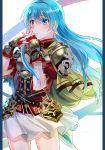 1girl armor blue_eyes blue_hair breastplate cape eirika fingerless_gloves fire_emblem fire_emblem:_seima_no_kouseki gloves long_hair looking_at_viewer pauldrons solo