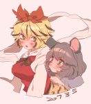 2girls animal_ears bangs blonde_hair blush breasts brown_ribbon closed_mouth dated eyebrows_visible_through_hair fang grey_hair masanaga_(tsukasa) medium_breasts mouse_ears multicolored_hair multiple_girls open_mouth red_eyes ribbon shawl short_hair simple_background streaked_hair touhou