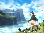 1girl atlantic_puffin_(kemono_friends) black_hair blush boots brown_footwear day kemono_friends knee_boots looking_at_viewer multicolored_hair orange_hair outdoors parted_lips red_eyes sarada_doraivu scenery short_hair squatting white_hair