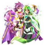 2boys cape dual_persona fingerless_gloves gloves green_eyes green_hair green_pants jacket long_hair long_sleeves looking_at_viewer multiple_boys open_mouth pants purple_cape purple_hair red_scarf rento_(rukeai) saikyou_ginga_ultimate_zero_~battle_spirits~ scarf smile spiky_hair star starry_background thigh_strap violet_eyes white_gloves white_jacket white_pants zero_the_flash zero_the_hurricane