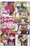 4boys 4girls 4koma ahoge artist_name balloon basket blonde_hair blue_hair bob_cut bucket bucket_on_head cape clipboard comic copyright_name darling_in_the_franxx dressing_another formal futoshi_(darling_in_the_franxx) hair_over_one_eye hairband hand_holding hand_on_hip highres hiro_(darling_in_the_franxx) ichigo_(darling_in_the_franxx) kokoro_(darling_in_the_franxx) long_hair mato_(mozu_hayanie) miku_(darling_in_the_franxx) mitsuru_(darling_in_the_franxx) multiple_boys multiple_girls object_on_head pant_suit redhead short_hair sparkle suit twintails uniform zero_two_(darling_in_the_franxx) zorome_(darling_in_the_franxx)