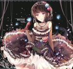 1girl bang_dream! bangs black_background black_choker black_hair blue_flower blue_rose breasts bug butterfly butterfly_on_finger character_name choker dress elbow_gloves flower frilled_dress frilled_gloves frills gloves gothic_lolita hair_bun hair_flower hair_ornament hair_up hairband insect jewelry lace lace_border lolita_fashion lolita_hairband medium_breasts necklace overskirt parted_lips pink_flower pink_rose ribbon-trimmed_dress rose sash shirokane_rinko smile solo taya_5323203 violet_eyes