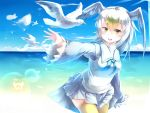1girl absurdres beach bird bird_tail bird_wings blonde_hair blue_hair blue_sky clouds commentary_request common_gull_(kemono_friends) cowboy_shot frilled_sleeves frills hand_up head_wings highres japari_symbol kanzakietc kemono_friends long_hair long_sleeves multicolored_hair neckerchief ocean pleated_skirt sailor_collar sand seagull skirt sky solo thigh-highs turtleneck white_hair wings yellow_legwear