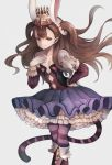 1girl animal_ears blue_skirt boots breasts brown_eyes brown_hair closed_mouth commentary_request copyright_request crown feet_out_of_frame floating_hair frilled_skirt frills gloves grey_background hand_on_hip hand_up inaba_sunimi leaning_forward long_sleeves looking_at_viewer pantyhose purple_legwear rabbit_ears simple_background skirt small_breasts smile solo striped striped_legwear striped_tail tail white_gloves