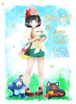 1girl bag black_hair blue_eyes blush closed_mouth dated eyebrows_visible_through_hair full_body gen_7_pokemon handbag hat highres litten looking_at_viewer mizuki_(pokemon) poke_ball pokemon pokemon_(creature) pokemon_(game) pokemon_sm popplio rowlet shoes short_hair smile sneakers songchuan_li translation_request