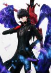 1boy amamiya_ren arsene_lupin_iii bangs black_hair black_pants card gloves grey_shirt hair_between_eyes hand_in_pocket holding holding_card long_hair male_focus pants parted_lips persona persona_5 purple_feathers red_eyes red_gloves shirt smile standing white_background