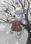 1girl absurdres animal_ears bird cold crow hat highres in_tree inubashiri_momiji pants pororikin red_eyes red_hat red_pants sandals scarf sitting sitting_in_tree snow snowing tail touhou tree white_hair wolf_ears wolf_tail