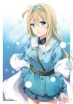 1girl absurdres bangs blonde_hair blue_coat blue_eyes blue_hairband blue_shirt blush breasts coat collared_shirt eyebrows_visible_through_hair fur-trimmed_coat fur_trim girls_frontline hair_between_eyes hair_ornament hairband hand_on_hip head_tilt highres long_hair looking_at_viewer medium_breasts open_mouth paaru shawl shirt sidelocks signature smile snowflake_hair_ornament solo suomi_kp31_(girls_frontline) thighs twitter_username