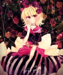 1girl alternate_costume alternate_eye_color blonde_hair blush doll doll_joints dress eyelashes floral_background flower frills hair_flower hair_ornament hair_ribbon hand_on_own_chin highres medicine_melancholy medium_hair phantasmagoria_of_flower_view pink_eyes pink_ribbon puffy_short_sleeves puffy_sleeves ribbon rose sailor_collar short_sleeves smile string striped striped_dress touhou white_ribbon yata