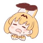 1girl =_= animal_ears batta_(ijigen_debris) blush_stickers bow bowtie chibi closed_eyes commentary drooling ears_down eyebrows_visible_through_hair face facing_viewer kemono_friends open_mouth orange_hair orange_neckwear serval_(kemono_friends) serval_ears serval_print short_hair simple_background solo sweatdrop white_background