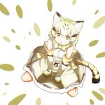 1girl animal_ears blonde_hair bow bowtie cat_ears cat_tail elbow_gloves eyebrows_visible_through_hair from_above gloves high-waist_skirt highres kemono_friends looking_at_viewer looking_up print_gloves print_neckwear print_skirt sand_cat_(kemono_friends) sand_cat_print shirt sitting skirt sleeveless sleeveless_shirt solo tail tamiku_(shisyamo609) wariza white_background white_belt yellow_eyes yellow_gloves yellow_neckwear