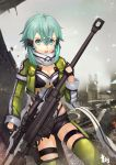 1girl aqua_eyes aqua_hair black_gloves black_shorts breasts cleavage clouds fingerless_gloves gloves green_jacket green_legwear grey_scarf gun hair_between_eyes hair_ornament hairclip highres holding holding_gun holding_weapon insoom jacket leotard looking_at_viewer medium_breasts open_clothes open_jacket open_mouth outdoors pgm_hecate_ii ruins scarf shinon_(sao) short_hair_with_long_locks short_shorts shorts sidelocks solo sword_art_online thigh-highs thigh_strap torn_scarf weapon