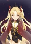 1girl bangs black_dress blonde_hair blush bow cape commentary cowboy_shot crown dress earrings ereshkigal_(fate/grand_order) eyebrows_visible_through_hair fate/grand_order fate_(series) hair_bow infinity jewelry leaning_forward long_hair looking_at_viewer lpip multicolored multicolored_cape multicolored_clothes necklace open_mouth parted_bangs red_bow red_cape red_eyes short_dress single_sleeve solo spine twintails two_side_up yellow_cape