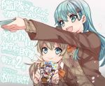 2girls akizuki_(kantai_collection) aqua_eyes aqua_hair ascot blazer blue_eyes brown_cardigan brown_hair brown_jacket hair_ornament hairclip jacket kaga_(kantai_collection) kantai_collection kumano_(kantai_collection) long_hair manga_(object) multiple_girls ponytail remodel_(kantai_collection) school_uniform smile suzuya_(kantai_collection) tane_juu-gou translation_request upper_body