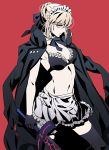 1girl apron artoria_pendragon_(all) bikini black_bikini black_gloves black_legwear black_neckwear black_ribbon blonde_hair braid breasts closed_mouth coat commentary_request contrapposto dark_excalibur detached_collar fate/grand_order fate_(series) frilled_bikini frills gloves hair_bun highres holding holding_sword holding_weapon jacket_on_shoulders legs_apart looking_at_viewer maid_apron maid_bikini medium_breasts navel neck_ribbon red_background ribbon saber_alter simple_background solo standing swimsuit sword tenobe thigh-highs waist_apron weapon yellow_eyes