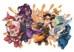 +_+ 4girls aori_(splatoon) cephalopod_eyes cosplay dark_skin donatello donatello_(cosplay) gloves green_eyes hair_over_one_eye hime_(splatoon) hotaru_(splatoon) iida_(splatoon) leonardo leonardo_(cosplay) looking_at_another mask michelangelo michelangelo_(cosplay) midriff mole mole_under_mouth multiple_girls navel pointy_ears raphael raphael_(cosplay) smile splatoon splatoon_2 staff sword symbol-shaped_pupils teenage_mutant_ninja_turtles tentacle_hair tonfa weapon wong_ying_chee yellow_eyes