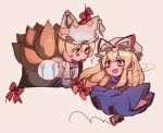2girls blush bow dress drooling fox_tail gap hair_bow hat hat_ribbon long_hair long_sleeves low-tied_long_hair masanaga_(tsukasa) mob_cap multiple_girls multiple_tails open_mouth puffy_short_sleeves puffy_sleeves red_bow red_footwear red_ribbon ribbon short_hair short_sleeves simple_background tabard tail touhou white_dress white_hat yakumo_ran yakumo_yukari