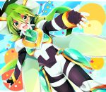 1boy armor blue_sky blush dotted_background fingerless_gloves gloves goggles green_eyes green_hair long_sleeves open_mouth outstretched_arms outstretched_hand rento_(rukeai) saikyou_ginga_ultimate_zero_~battle_spirits~ sky smile spiky_hair star starry_background thigh_strap zero_the_hurricane