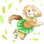 1girl animal_ears arm_up black-tailed_prairie_dog_(kemono_friends) bow brown_hair eyebrows_visible_through_hair fur_collar green_neckwear green_skirt highres kemono_friends long_sleeves looking_at_viewer miniskirt plaid plaid_skirt prairie_dog_ears shoe_bow shoes skirt smile solo tail tamiku_(shisyamo609) thigh-highs white_background white_footwear