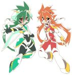 2boys armor brown_hair clenched_hand dual_persona fingerless_gloves gloves goggles green_armor green_eyes green_footwear green_hair grin long_hair looking_at_viewer male_focus multiple_boys outstretched_arm outstretched_hand pants red_armor red_eyes red_pants red_shirt rento_(rukeai) saikyou_ginga_ultimate_zero_~battle_spirits~ shirt smile spiky_hair white_footwear zero_the_burning zero_the_hurricane