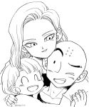 1boy 2girls ;d ^_^ android_18 bald black_eyes close-up closed_eyes commentary couple dragon_ball dragonball_z earrings english_commentary eyelashes face family father_and_daughter fingernails happy hetero hug hug_from_behind image_sample jewelry kuririn looking_at_another marron monochrome mother_and_daughter multiple_girls one_eye_closed open_mouth short_hair simple_background smile tkgsize twitter_sample twitter_username upper_body white_background
