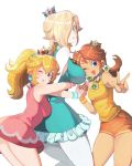 3girls alternate_costume blonde_hair blue_eyes blush breasts crown hair hand_holding hug hug_from_behind looking_at_viewer mario_(series) mario_tennis mini_crown multiple_girls omochi_(glassheart_0u0) one_eye_closed open_mouth ponytail princess_daisy princess_peach rosetta_(mario) short_shorts shorts simple_background sleeveless smile super_mario_bros. v wristband