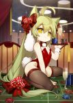 1girl absurdly_long_hair absurdres ahoge akashi_(azur_lane) alcohol animal_ears azur_lane backless_outfit bangs bare_shoulders between_legs bow bowtie brown_legwear bunny_tail bunnysuit cat_ears champagne champagne_flute ciciya commentary_request cup dice_hair_ornament drinking_glass eyebrows_visible_through_hair fingernails green_hair hair_between_eyes hair_bow hair_ornament hand_between_legs highres holding holding_tray indoors leotard long_hair poker_chip red_bow red_leotard red_neckwear roulette_table sample sidelocks signature solo sparkle strapless strapless_leotard striped striped_bow tail thigh-highs tray very_long_hair wrist_cuffs yellow_eyes