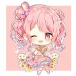 1girl ;d bang_dream! bow brooch butterfly_hair_ornament chibi choker cross-laced_footwear double_bun dress earrings flower hair_ornament heart jewelry knees_together_feet_apart looking_at_viewer maruyama_aya one_eye_closed open_mouth outline pink_background pink_bow pink_choker pink_dress pink_eyes pink_footwear pink_hair short_hair smile solo star star_hair_ornament taya_5323203 twintails white_outline