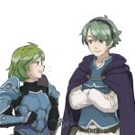 1boy 1girl alm_(fire_emblem) armor blue_eyes blush cape cosplay costume_switch fire_emblem fire_emblem:_rekka_no_ken fire_emblem_echoes:_mou_hitori_no_eiyuuou fire_emblem_heroes gloves green_eyes green_hair hair_ornament hairband headband highres kkonisa nino_(fire_emblem) open_mouth purple_hairband short_hair skirt smile sword weapon
