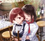 2girls bar bar_stool barrel black_hair black_neckwear bottle bow bowtie center_frills closed_eyes collared_shirt commentary_request counter cup double-breasted drinking_glass hair_bun hug hug_from_behind multiple_girls neckerchief open_mouth original plant red_eyes red_neckwear shirt short_hair sleeves_folded_up stool vines white_shirt wine_bottle wine_glass yukiko_(tesseract) yuri