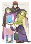 1girl aym_(ash3ash3ash) blue_eyes blush boots brothers cape closed_mouth couple family father_and_son fingerless_gloves fire_emblem fire_emblem:_fuuin_no_tsurugi fire_emblem:_rekka_no_ken fire_emblem_heroes gloves green_hair hairband headband jaffar_(fire_emblem) lleu_(fire_emblem) lugh_(fire_emblem) mother_and_son nino_(fire_emblem) open_mouth purple_hairband red_eyes redhead short_hair siblings skirt smile tattoo